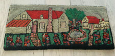 Antique early 1900's hand-hooked Folk Art rug - excellent condition!