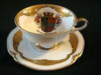 Cup Saucer, Footed, Gold, PMR Bavaria,Targerato, Garmisch-Partenkirchen Germany