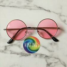 Pink Lens Small Round Sunglasses