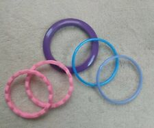 EUC Lot Of 5 hard Plastic Kid Dress Up Fashion Bracelets Pretend Play pink blue