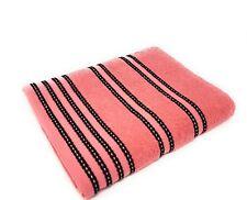 rayé clair 100% coton peigné doux absorbant rose pêche serviette drap de bain