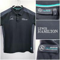 Mercedes AMG Petronas Mens Large Polo Formula One Lewis Hamilton Black