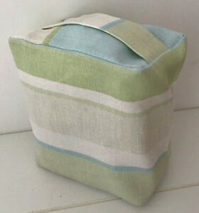 HANDMADE LAURA ASHLEY VINTAGE AWNING STRIPE FABRIC DOOR STOP .... UNFILLED
