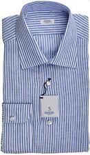 Barba Napoli Dress Shirt Linen 17 43 Blue White Stripe 11SH0178 $325