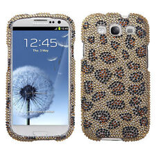 For Samsung Galaxy S III 3 Crystal Diamond BLING Hard Case Phone Cover Leopard