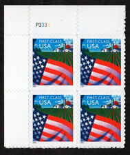 USA, SCOTT # 3449, PLATE BLOCK OF FLAG OVER FARM, SELF-ADHESIVE, NON-DENOMINATED
