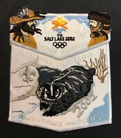 OA AWAXAAWE AWACHIA LODGE 535 TRAPPER TRAILS COUNCIL 2002 OLYMPICS 2-PATCH TOUGH