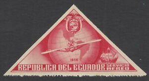Ecuador UNISSUED 1936 Columbus UNDENOMINATED PROOF triangular red