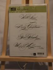 "Stampin' Up ""Hand-Penned Holidays"" Set of Four Rubber Stamps"