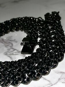 Men's Miami Cuban Link Chain 12mm Ice Out 14k Black Diamond FILL Real ICE Choker
