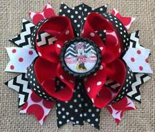 Minnie Mouse Red Black Bottle Cap Hair Bow 5""