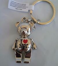 I LOVE NY RED HEART BEAR ALL SHINY METAL KEY CHAIN NEW YORK FOB BLACK