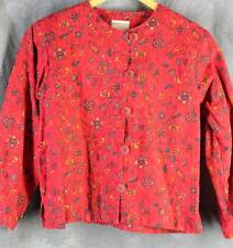 Coldwater Creek M Linen Blend Red Long Sleeve Top Shirt