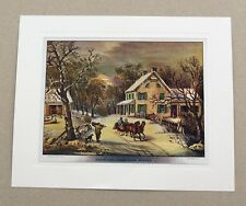 Vintage Currier and Ives American Homestead Winter Color Foil Etch Print