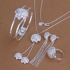 Fashion flower cute Silver rose Ring Earring Bracelet Necklace set 925 S324