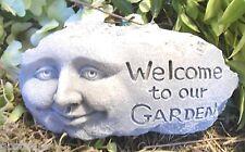 Gostatue welcome face rock mold latex w plastic backup mold plaster concrete