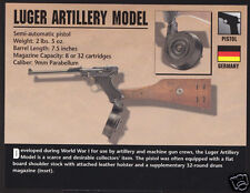 LUGER ARTILLERY MODEL 9mm PISTOL Germany WWI Gun Firearm ATLAS PHOTO CARD