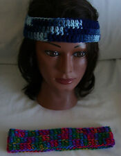 """Lot of 2 Crochet Headbands--2"""" wide X 18"""" Around--Shaded Dusk & Embroidery Print"""