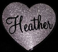 PERSONALISED NAME SILVER HEART GLITTER IRON ON HOTFIX TRANSFER Diamante T Shirt