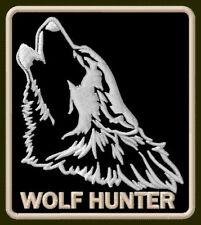 """WOLF HUNTER EMBROIDERED PATCH 3-1/4"""" x 2-7/8"""" PELT PREDATOR WILDLIFE AUFNÄHER"""