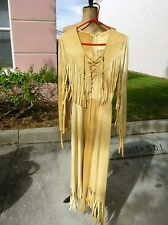 VINTAGE LEATHER POCOHONTAS INDIAN GIRL COSTUME SUEDE DRESS ~SEXY~ XS SM
