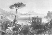 Italy BAY OF BAIAE NAPLES MOUNT VESUVIUS RUINS FORT ~ 1841 Art Print Engraving