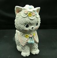 Vintage Napco NapcoWare Cat Kitten Planter Vase Ornate Pastel Japan