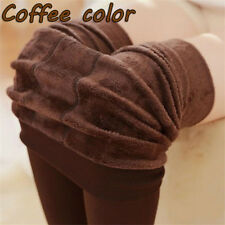 Women Thermal Thick Warm Fleece Lined Winter Tight Pencil Leggings Pants Coffee Color