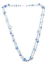 Cuento Mediterráneo-Doble Trenzado Aqua Azul y Turquesa Collar. (Zx83)