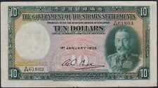 Straits Settlements 10 dollars 1935, VF, Pick 18b