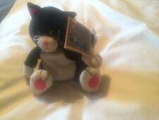 """VINTAGE """"FLOPPY FRIENDS"""" BLACK & WHITE CAT/KITTEN BEANBAG PLUSH"""