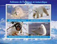 Congo 2018 MNH Arctic & Antarctic Animals 4v M/S I Polar Bears Penguins Stamps