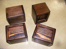 Solid Wood Bed Lifter Desk Riser Set of 4 For 3 x 3 Furniture Leg + Felt Lining