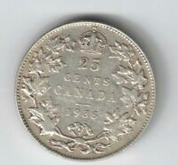 CANADA 1935 TWENTY FIVE CENTS QUARTER KING GEORGE V .800 SILVER COIN
