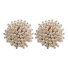 Elegant Lady Big White Pearl Flowers Earrings Women Ear Stud Fashion Jewelry