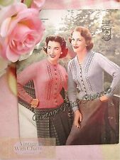 Vintage 50s Knitting Pattern Lady's Sweet 'Fancy Panels' Cardigan Fit 32-42 Bust