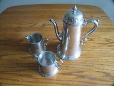 COLONIAL PEWTER BOARDMAN TEA SET TEA POT CREAMER SUGAR