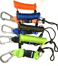 scuba stainless steel wired coated coil lanyard with quick release buckle & clip