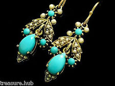 CE141 Genuine 9ct SOLID Yellow Gold NATURAL Turquoise Pearl Drop Earrings