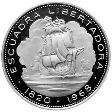 CHILE 10 Pesos 1968 Silver Proof 'Arrival of Liberation Fleet in 1820'