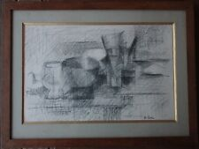 Gustaaf Gustav BOLIN - Dessin fusain nature morte original drawing **