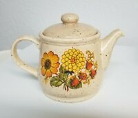 Sadler Teapot Speckled Brown Vintage Orange Yellow Floral Design England