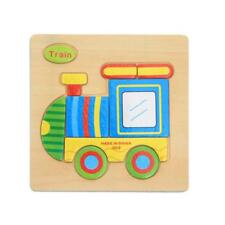Wooden Cartoon Train Blocks Toddler Baby Kids Child Educational Toy Puzzle