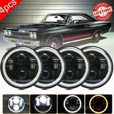 "4PCS 5 3/4"" 5.75 LED Headlights Halo HI/LO DRL H5006 H5001 for Plymouth GTX Fury"