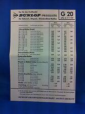 Dunlop Preisliste Fahrrad Moped Kleinkraftrad Reifen G20 1969 Grosshandel