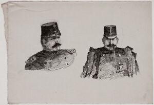 Original 1920s portrait of an Austrian military smoking pipe, by Viktor Bleyer
