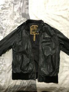Superdry Vintage Leather Bomber Jacket Size XL