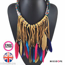 NEW BROWN PINK FEATHER TASSEL STATEMENT CHOKER NECKLACE WOMENS MULTI LAYER GYPSY