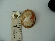#616 vtg 14k gold framed  carved shell CAMEO pin 1 1/4'' l  x  1'' w w frame