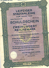 Sachsen Lipsia città colpa fittizio Bond 200 RM 1929 uncancelled with cedole